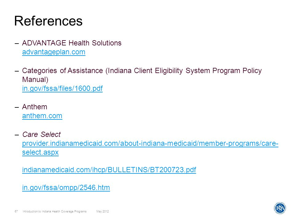 References ADVANTAGE Health Solutions advantageplan.com