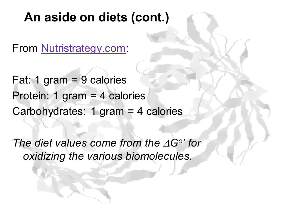 An aside on diets (cont.)