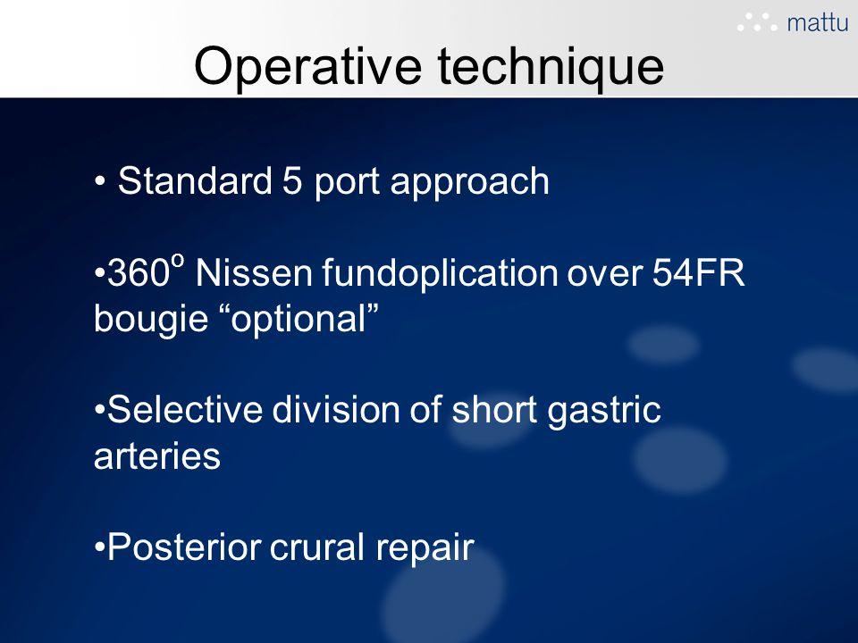 Operative technique Standard 5 port approach