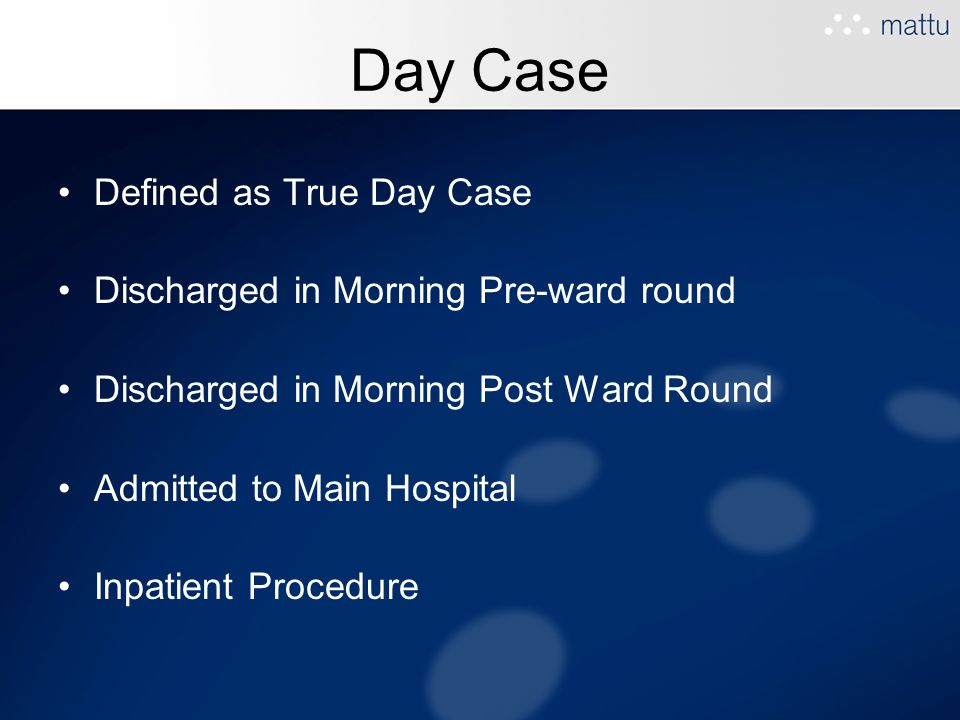 Day Case Defined as True Day Case Discharged in Morning Pre-ward round