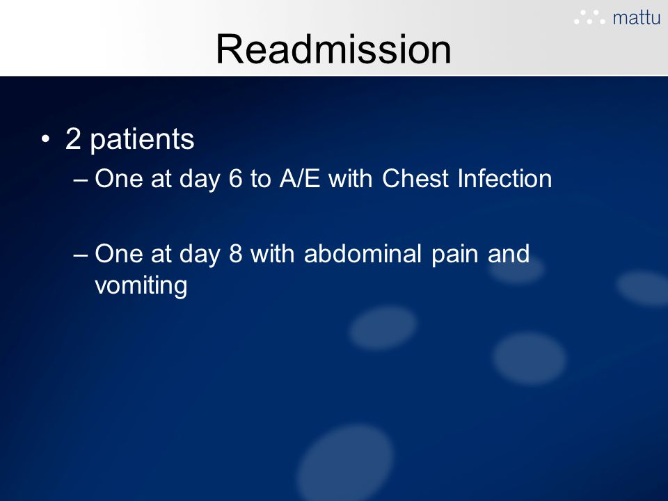 Readmission 2 patients One at day 6 to A/E with Chest Infection