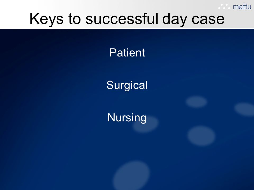 Keys to successful day case