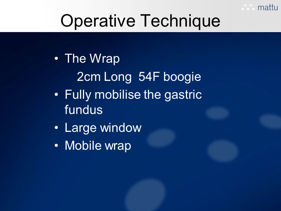 Operative Technique The Wrap 2cm Long 54F boogie