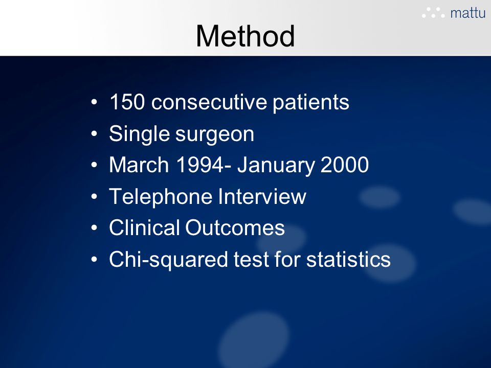 Method 150 consecutive patients Single surgeon