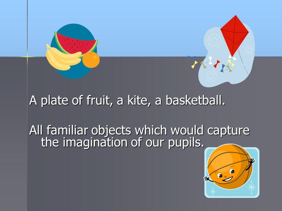 A plate of fruit, a kite, a basketball.