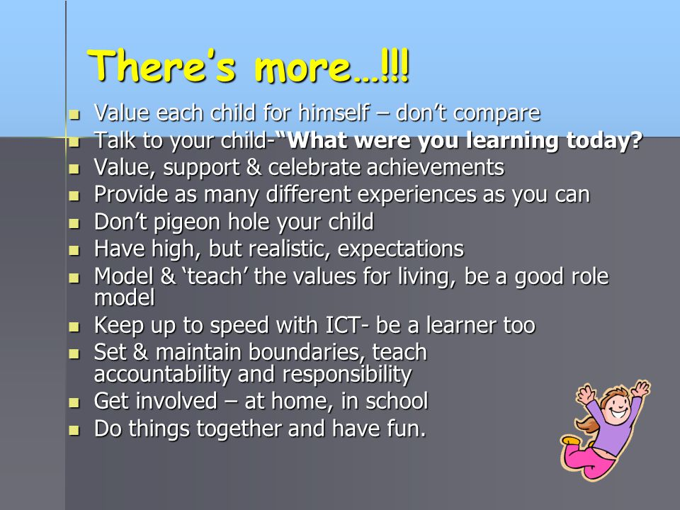 There's more…!!! Value each child for himself – don't compare