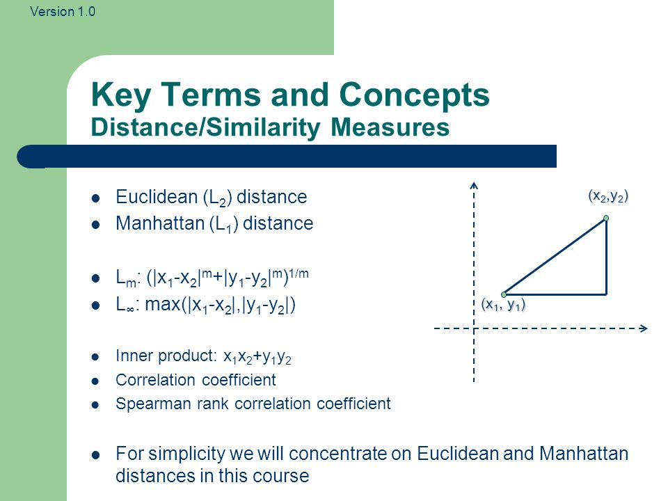 Key Terms and Concepts Distance/Similarity Measures