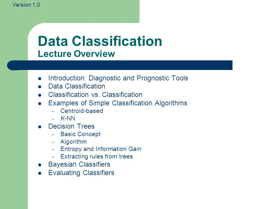 Data Classification Lecture Overview