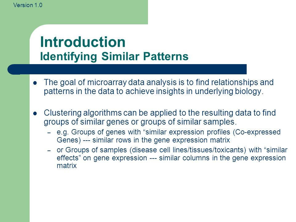 Introduction Identifying Similar Patterns