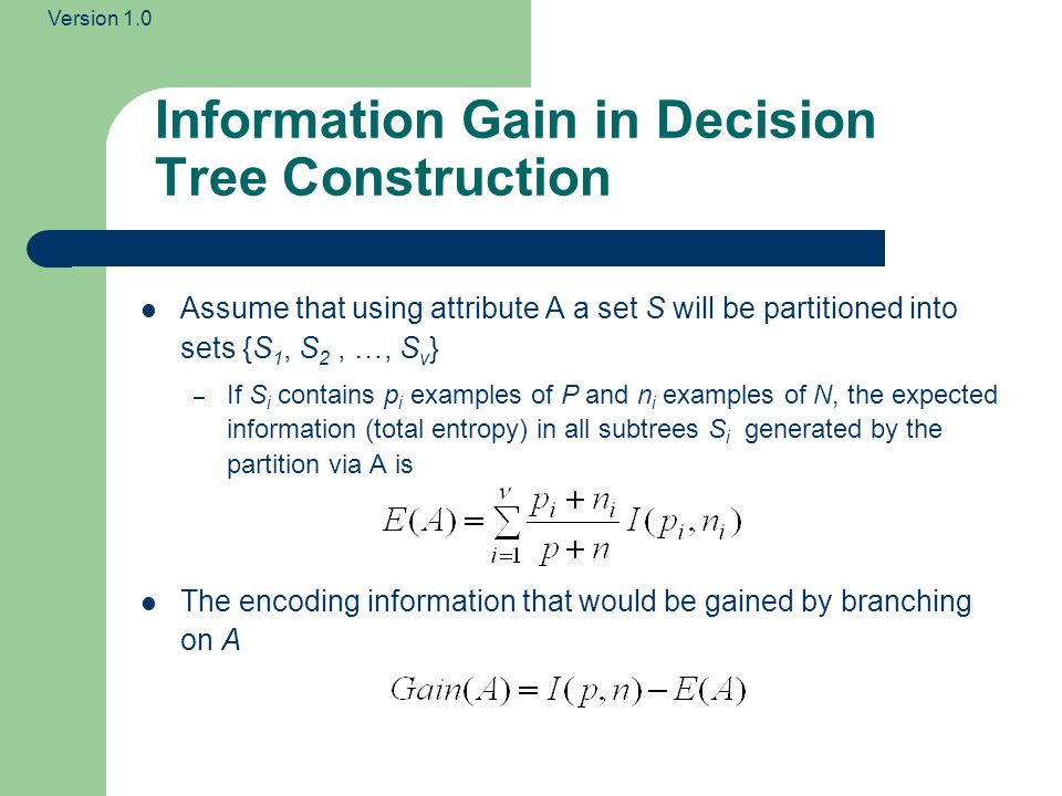 Information Gain in Decision Tree Construction