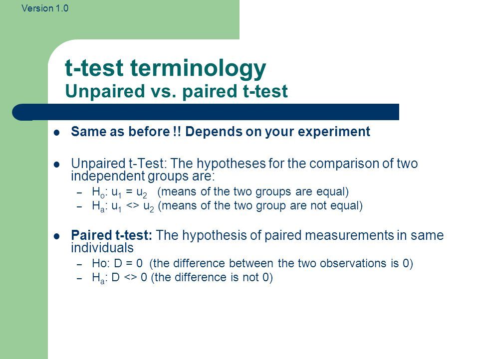 t-test terminology Unpaired vs. paired t-test