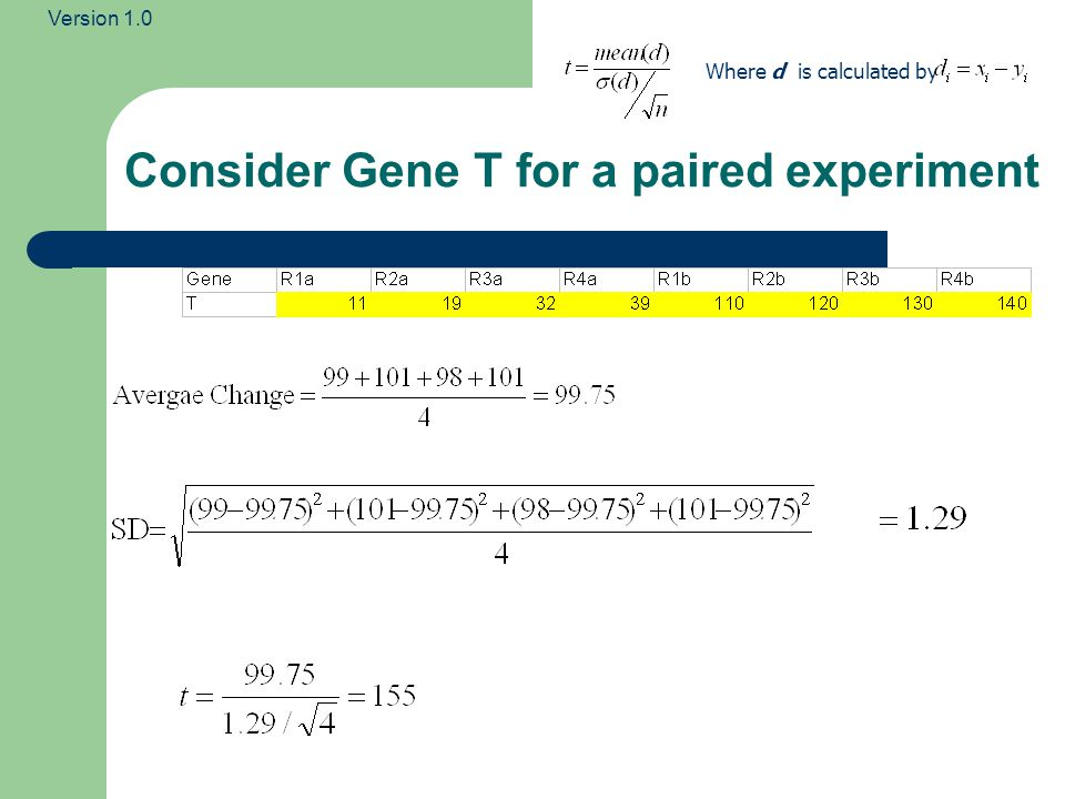 Consider Gene T for a paired experiment