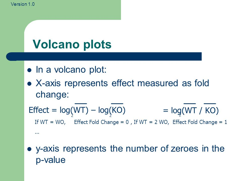 Volcano plots In a volcano plot: