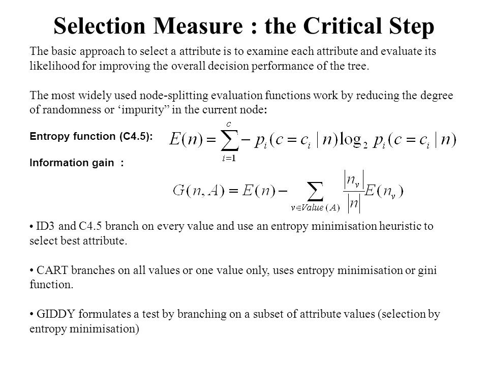 Selection Measure : the Critical Step