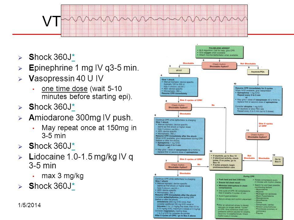 VT-VF Arrest Shock 360J* Epinephrine 1 mg IV q3-5 min.
