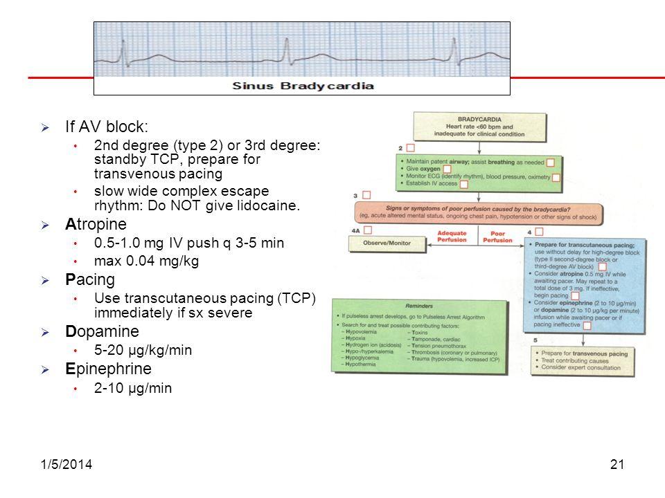 Bradycardia If AV block: Atropine Pacing Dopamine Epinephrine