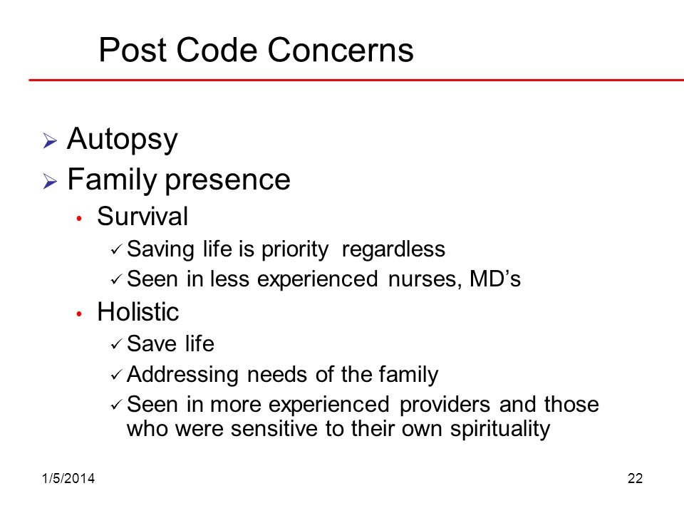 Post Code Concerns Autopsy Family presence Survival Holistic