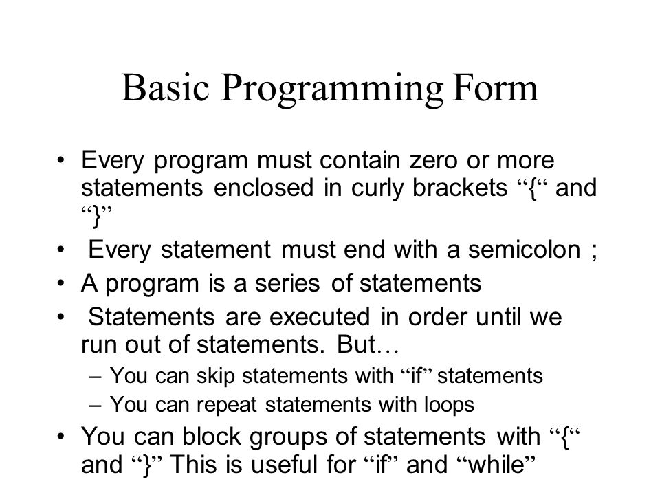 Basic Programming Form