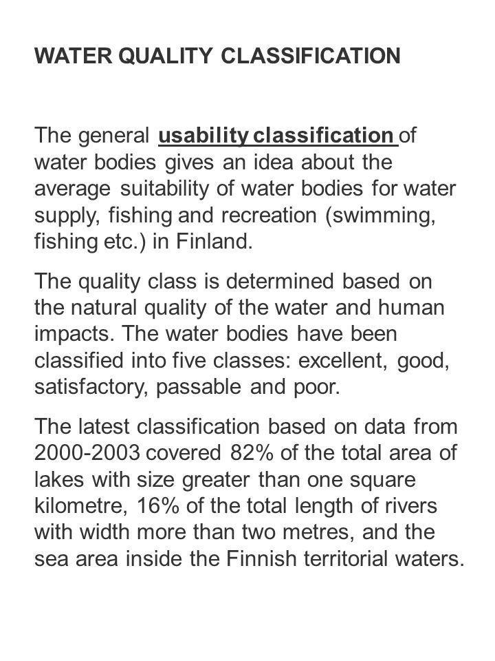 WATER QUALITY CLASSIFICATION