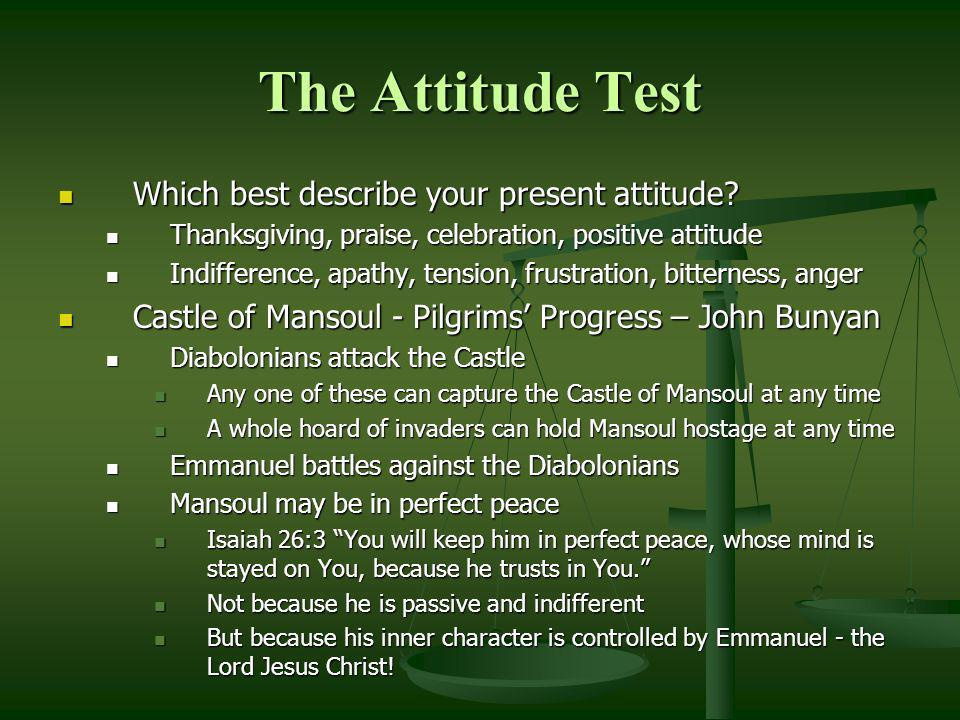 The Attitude Test Which best describe your present attitude