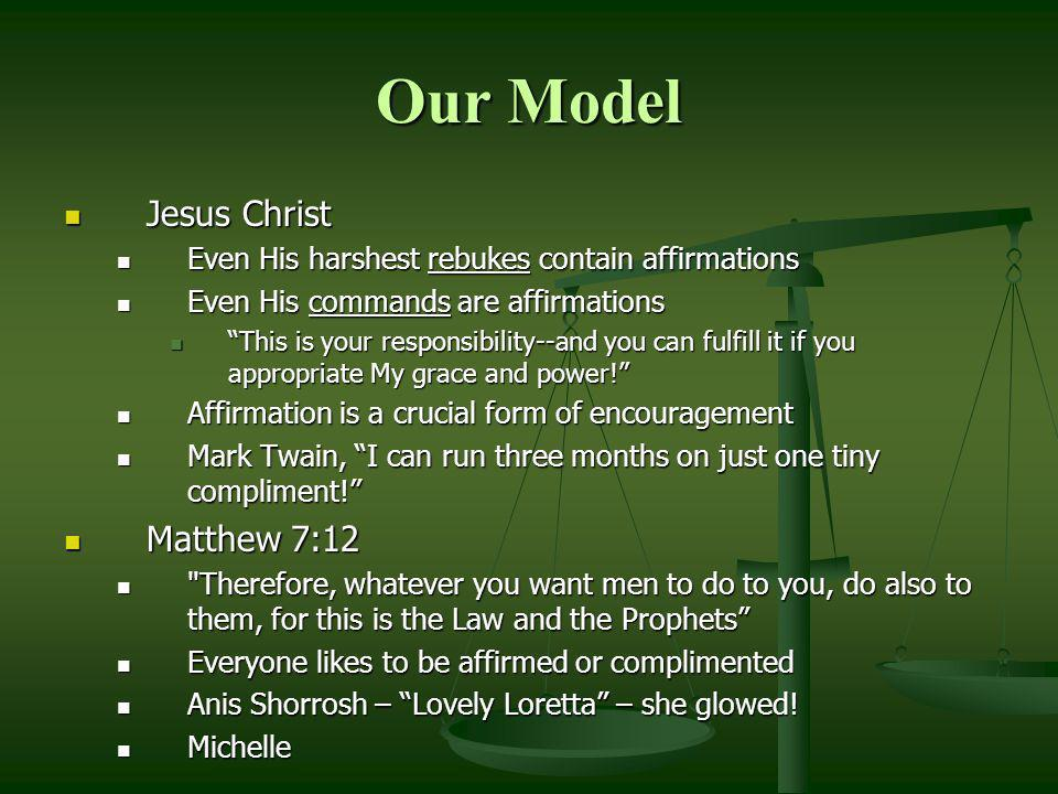Our Model Jesus Christ Matthew 7:12