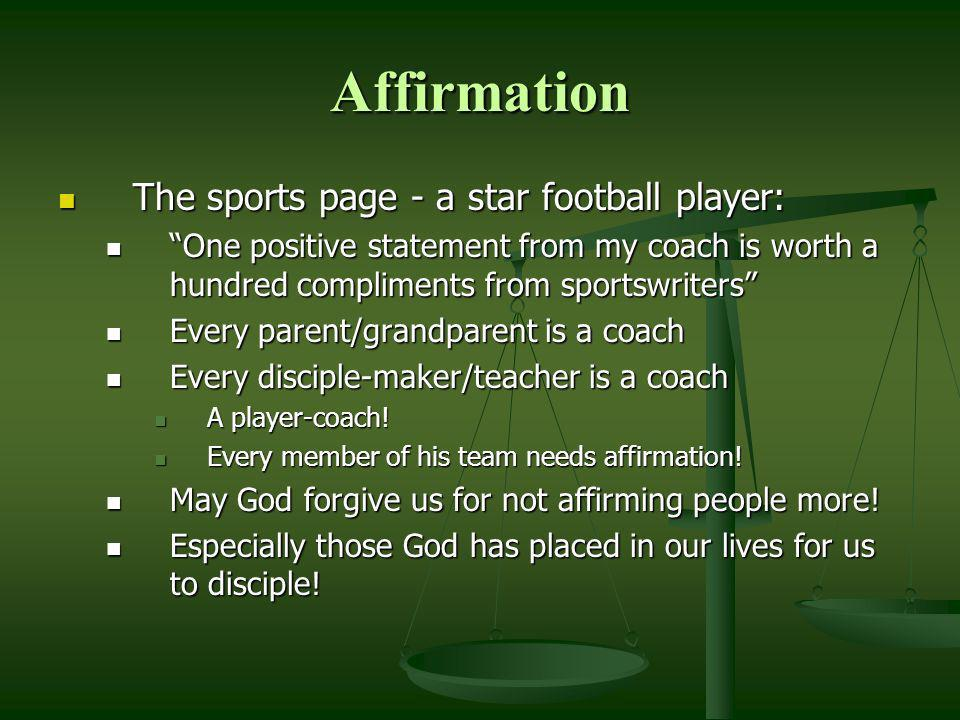 Affirmation The sports page - a star football player: