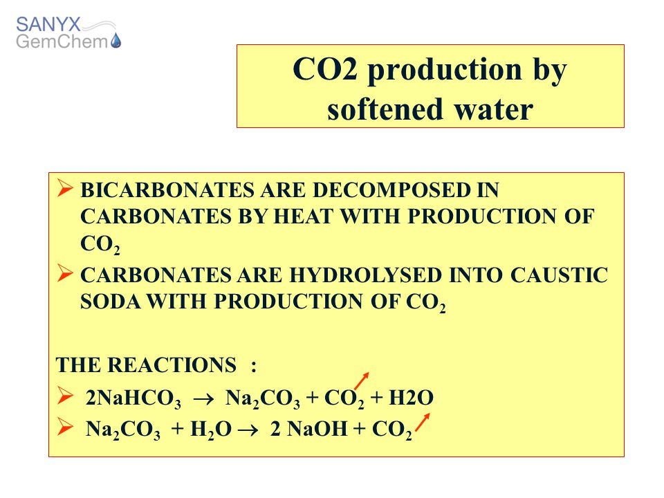 CO2 production by softened water