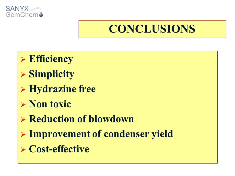 CONCLUSIONS Efficiency Simplicity Hydrazine free Non toxic