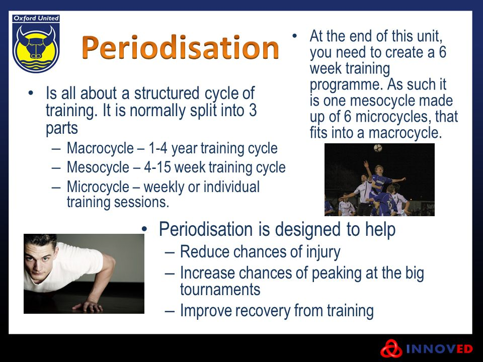Periodisation Periodisation is designed to help
