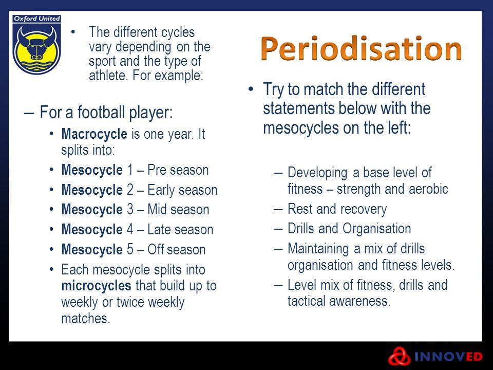 The different cycles vary depending on the sport and the type of athlete. For example: