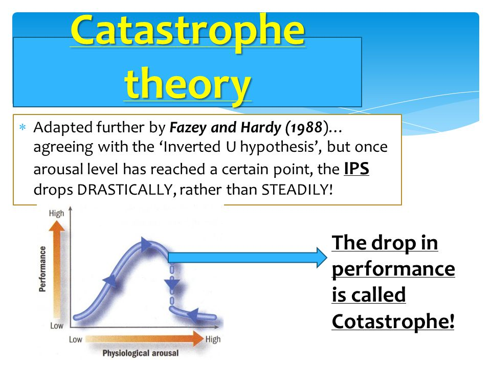 Catastrophe theory The drop in performance is called Cotastrophe!