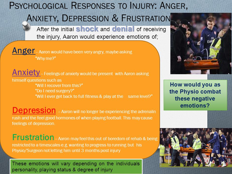 How would you as the Physio combat these negative emotions