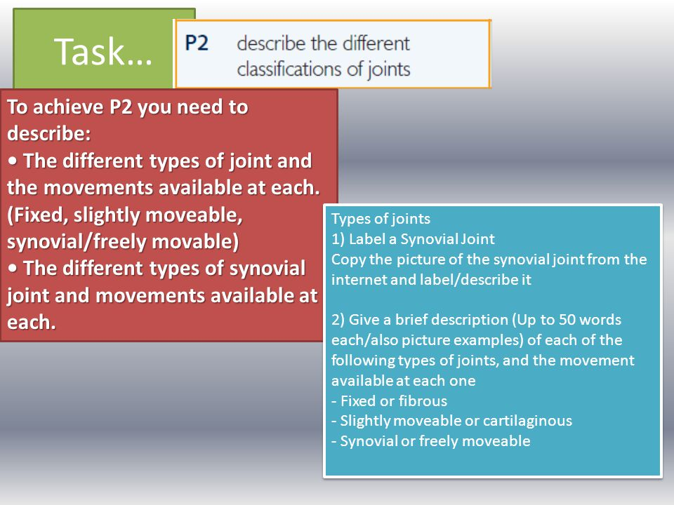 Task… To achieve P2 you need to describe: