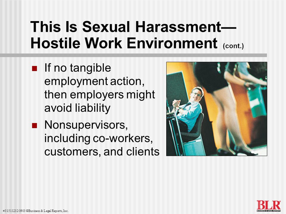 This Is Sexual Harassment— Hostile Work Environment (cont.)