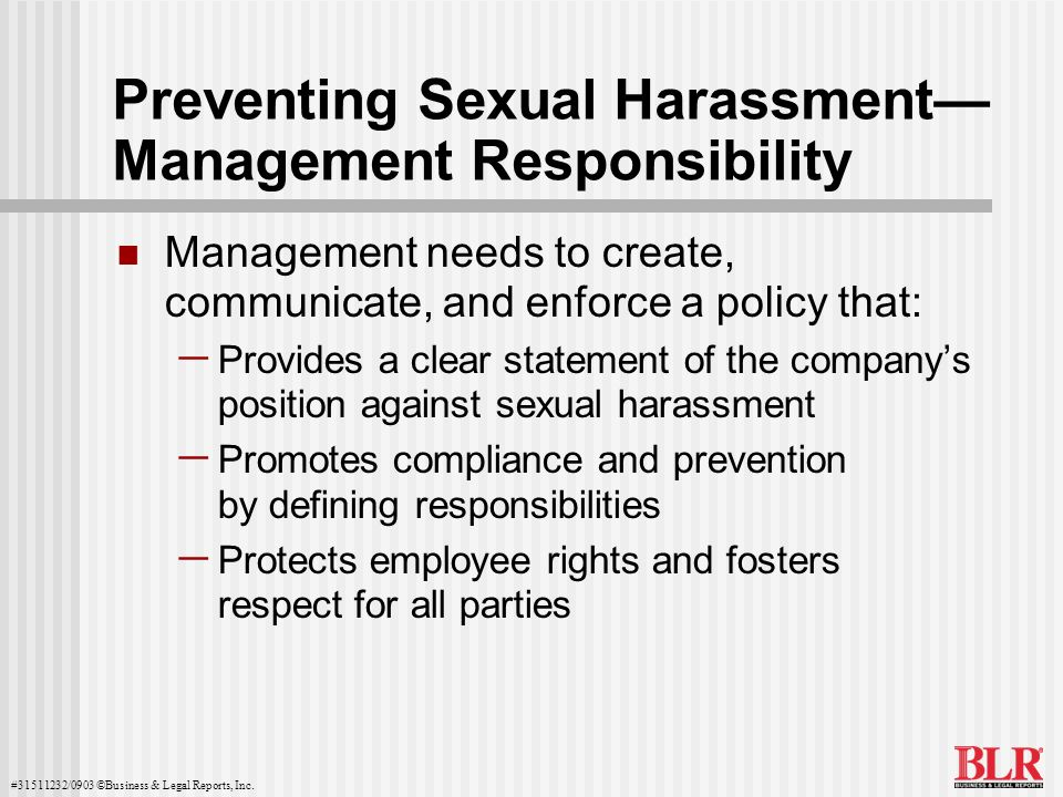 Preventing Sexual Harassment— Management Responsibility