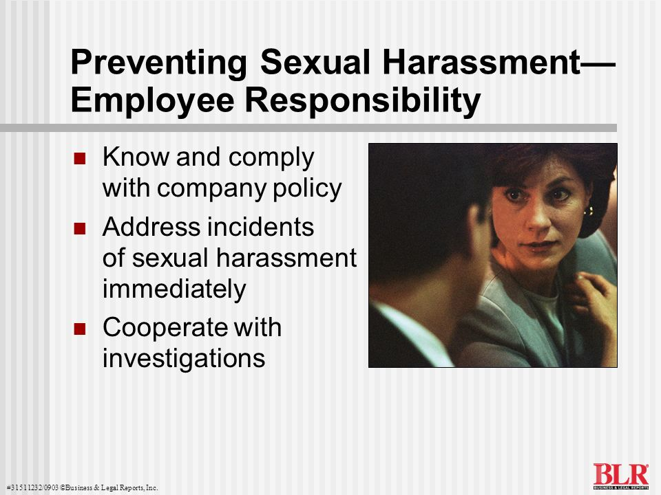Preventing Sexual Harassment— Employee Responsibility