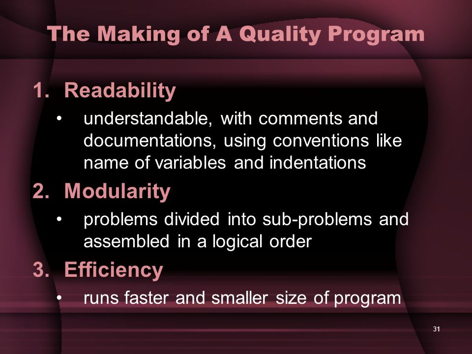 The Making of A Quality Program