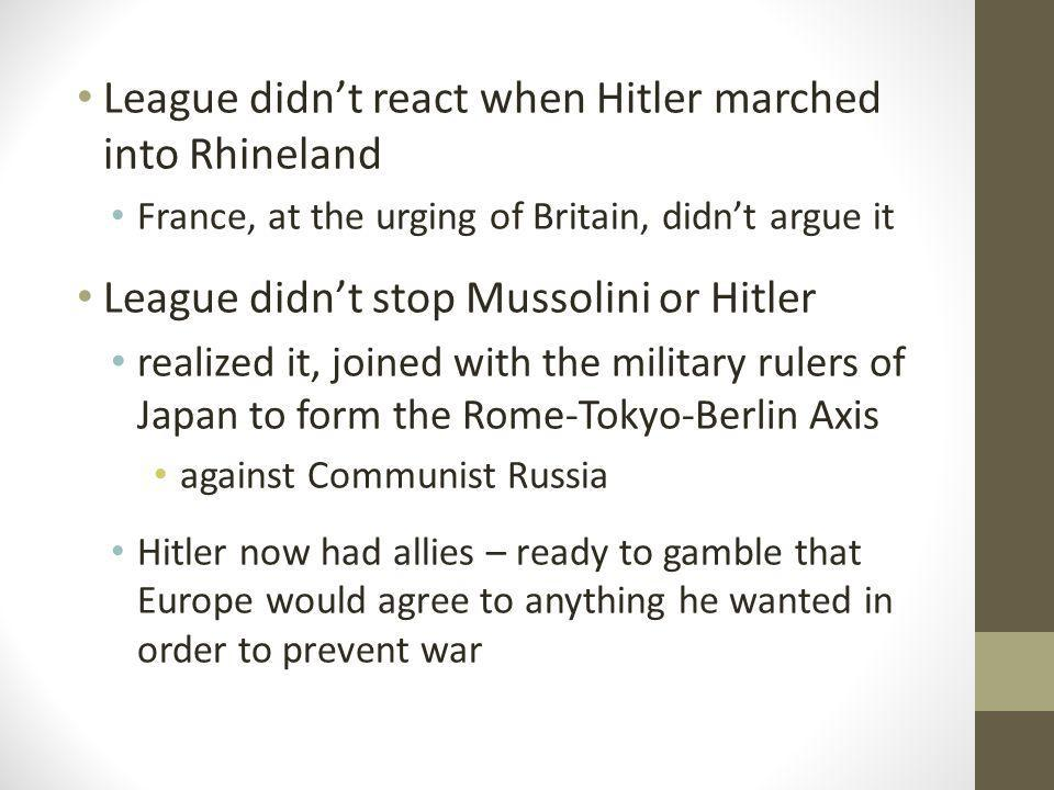 League didn't react when Hitler marched into Rhineland
