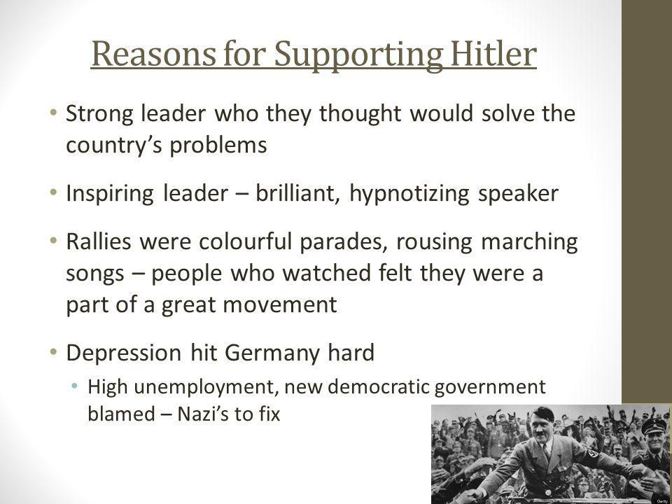 Reasons for Supporting Hitler