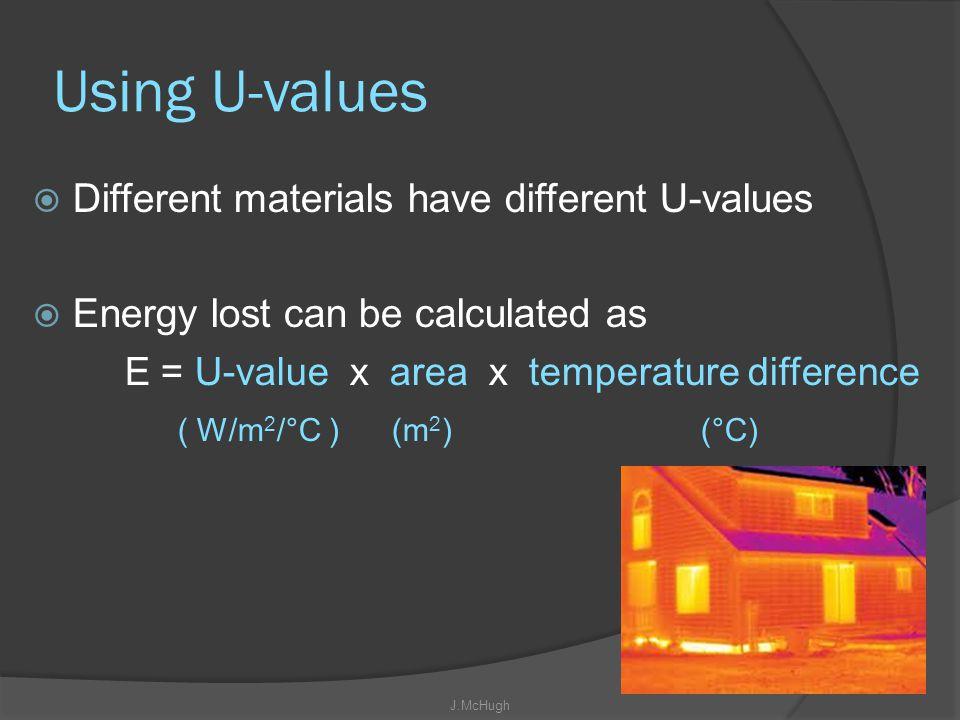 Using U-values Different materials have different U-values