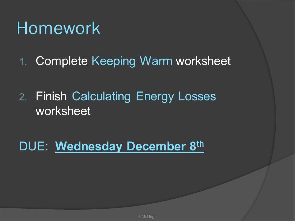 Homework Complete Keeping Warm worksheet