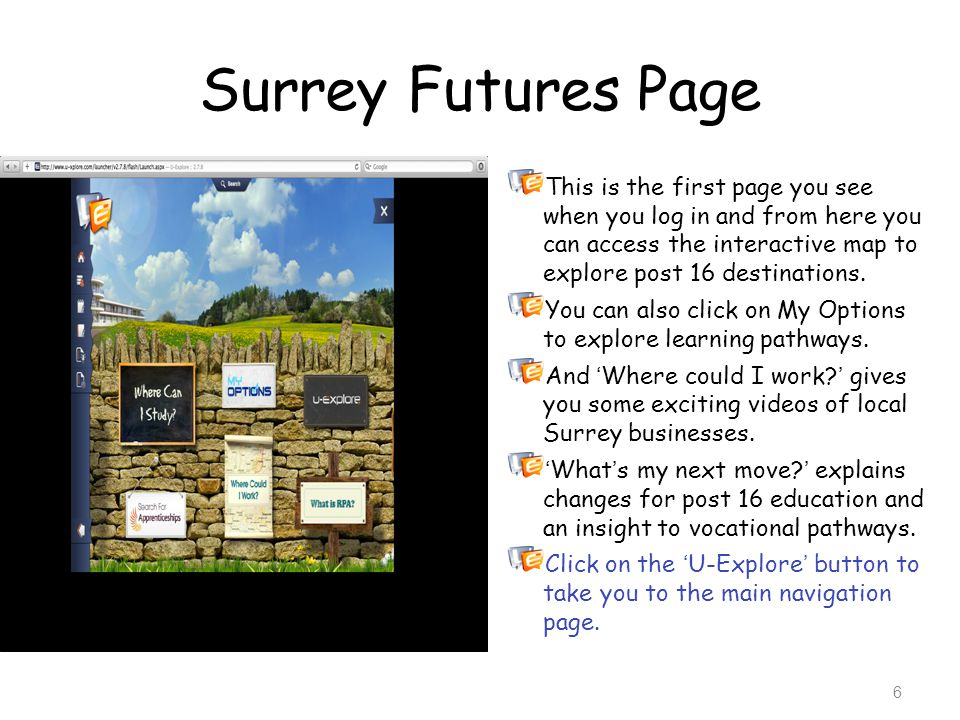 Surrey Futures Page This is the first page you see when you log in and from here you can access the interactive map to explore post 16 destinations.
