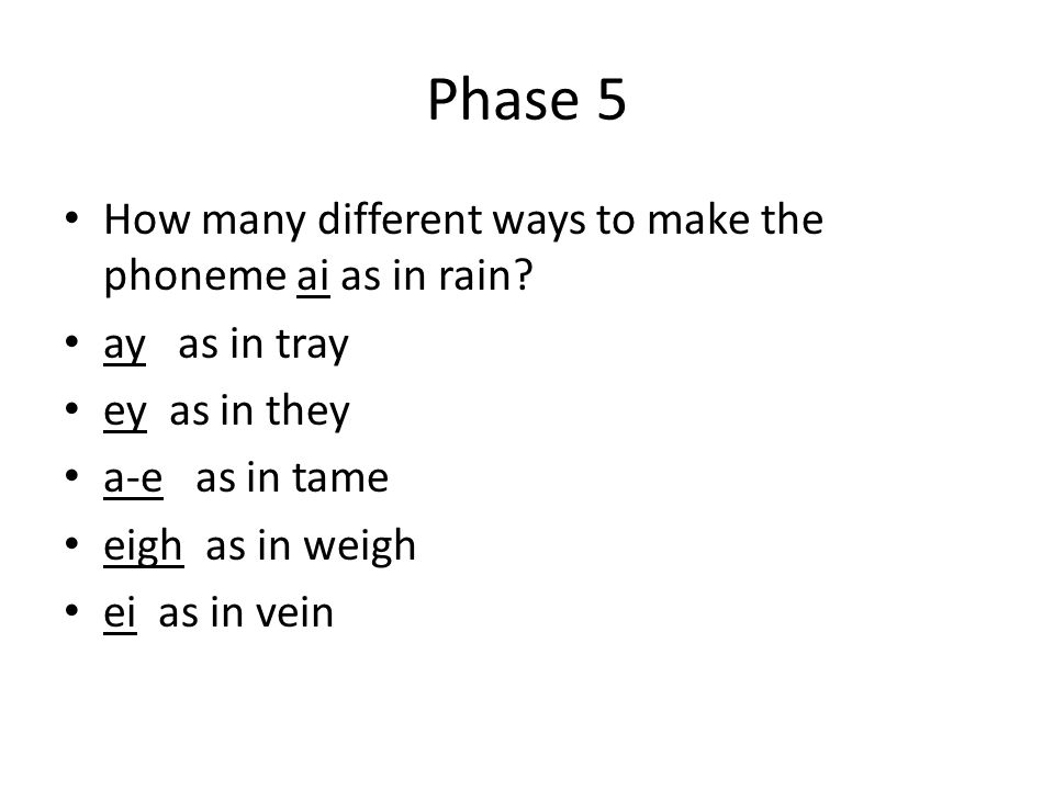 Phase 5 How many different ways to make the phoneme ai as in rain