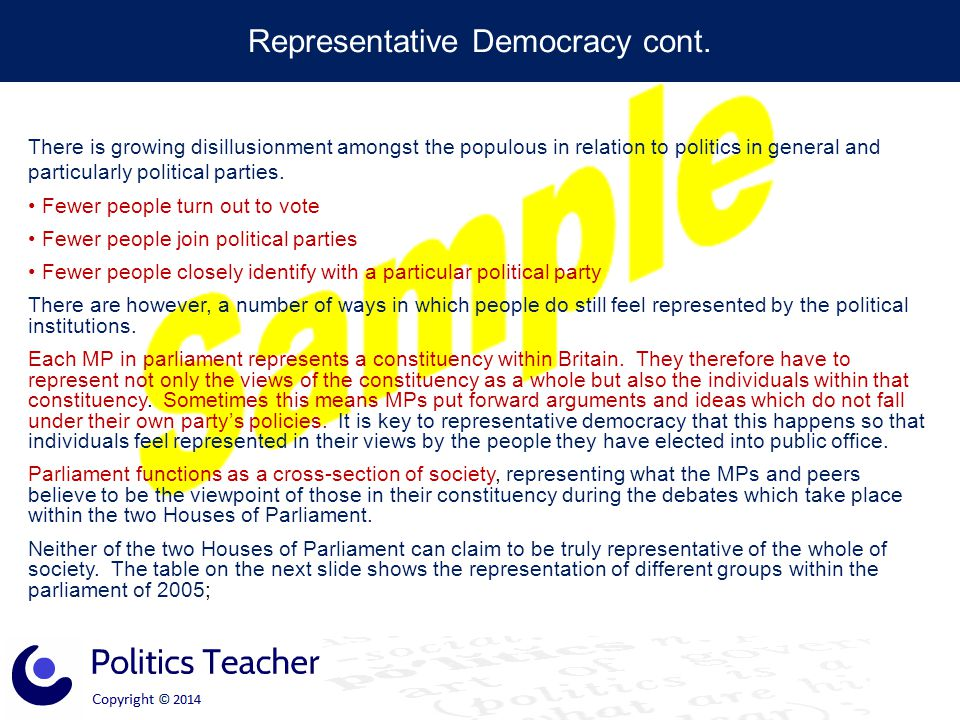 Representative Democracy cont.