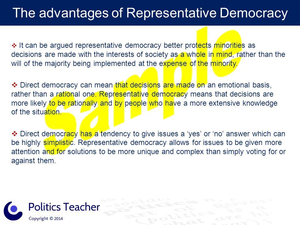 The advantages of Representative Democracy