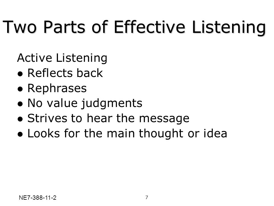 Two Parts of Effective Listening