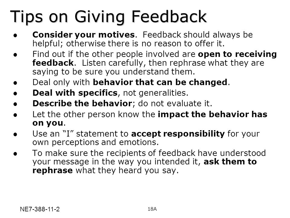 Tips on Giving Feedback