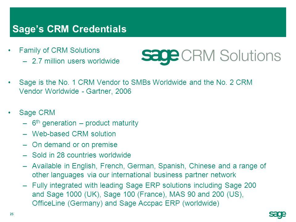 Sage's CRM Credentials