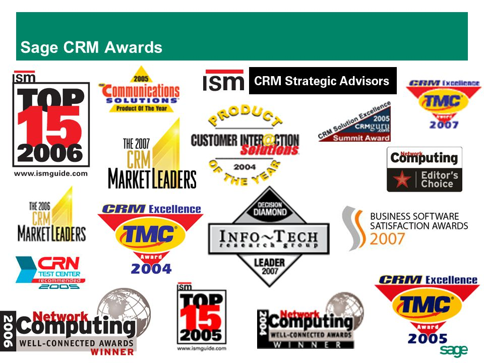 Sage CRM Awards Don't just believe us - Sage CRM is an award-winning CRM solution, as demonstrated by the many awards it has won in recent years.