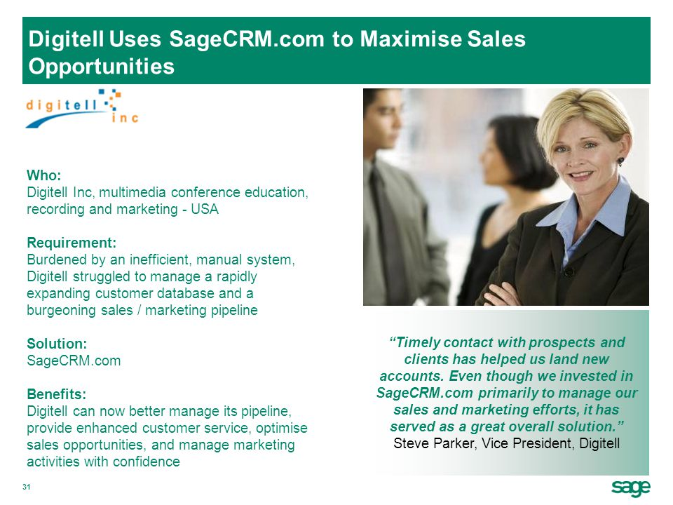 Digitell Uses SageCRM.com to Maximise Sales Opportunities